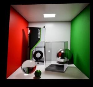 周囲の壁などで反射した光によるリアルな影。反射や屈折が物理的に正確に反映されている