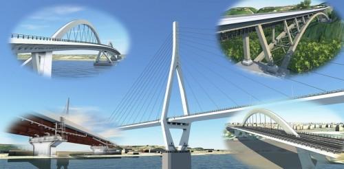 オフィスケイワンが参画した代表的な橋梁CIMプロジェクトの例。中央の斜張橋をはじめ、地域のランドマークとなるビッグプロジェクトも多い