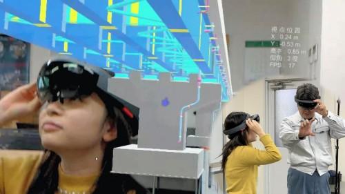 ARゴーグル「HoloLens」を着けて橋の3Dモデルを見たイメージ。実寸大・立体視で完成後の姿をリアルに体験できる