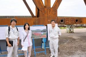 見学に行った橋梁工場ではオフィスケイワンが作成したCGが説明看板に使われていた
