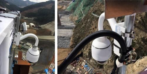 ダムの両岸に設置されたフルハイビジョンカメラ