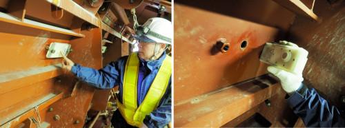 センサの感知部は穴を通じて直接、生コンクリートに接触し、静電容量や加速度、温度を計測する