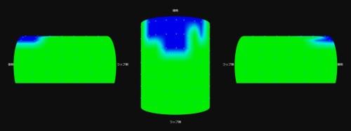 パソコンの画面にはスライドセントル内の生コンクリート充填状況や締固め状況などがリアルタイムで色分け表示される