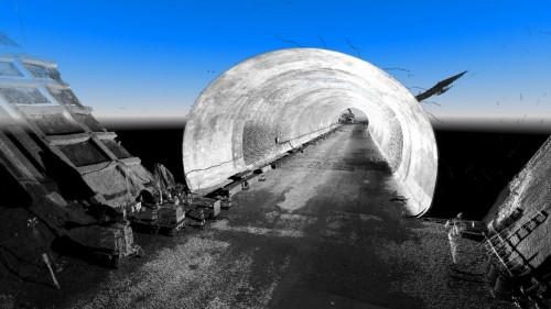 MMSによるトンネル内面計測の状況(上)と、計測された点群データ(下)