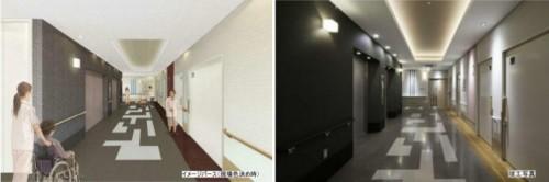 エレベーターホールのデザイン検討(左)と竣工写真(右)