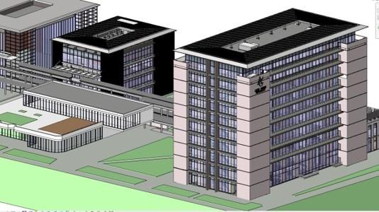 Revitで作成した愛知学院大学 名城公園キャンパスⅡ期工事のBIMモデル