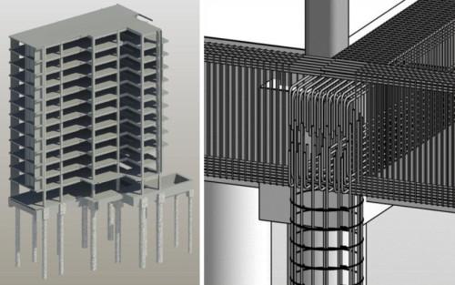 構造部材の納まり検討(左)と詳細な鉄筋BIMモデル(右)