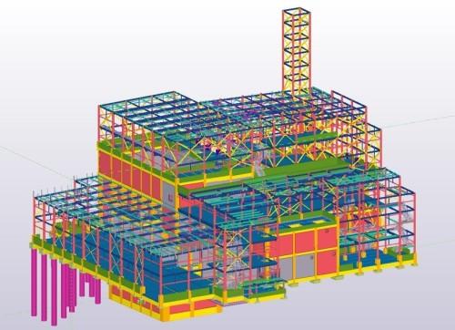構造図をTekla Structures、意匠図をRevitで作成したごみ焼却工場のプロジェクト