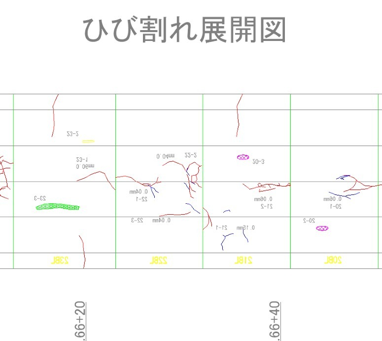 青線がHoloLensの朱書き機能によって従来の展開図に追記された線