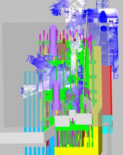 現場付近のCIMモデル。正確な位置がわからなかった電力トンネルは3Dレーザースキャナーで計測した点群データを取り込んだ