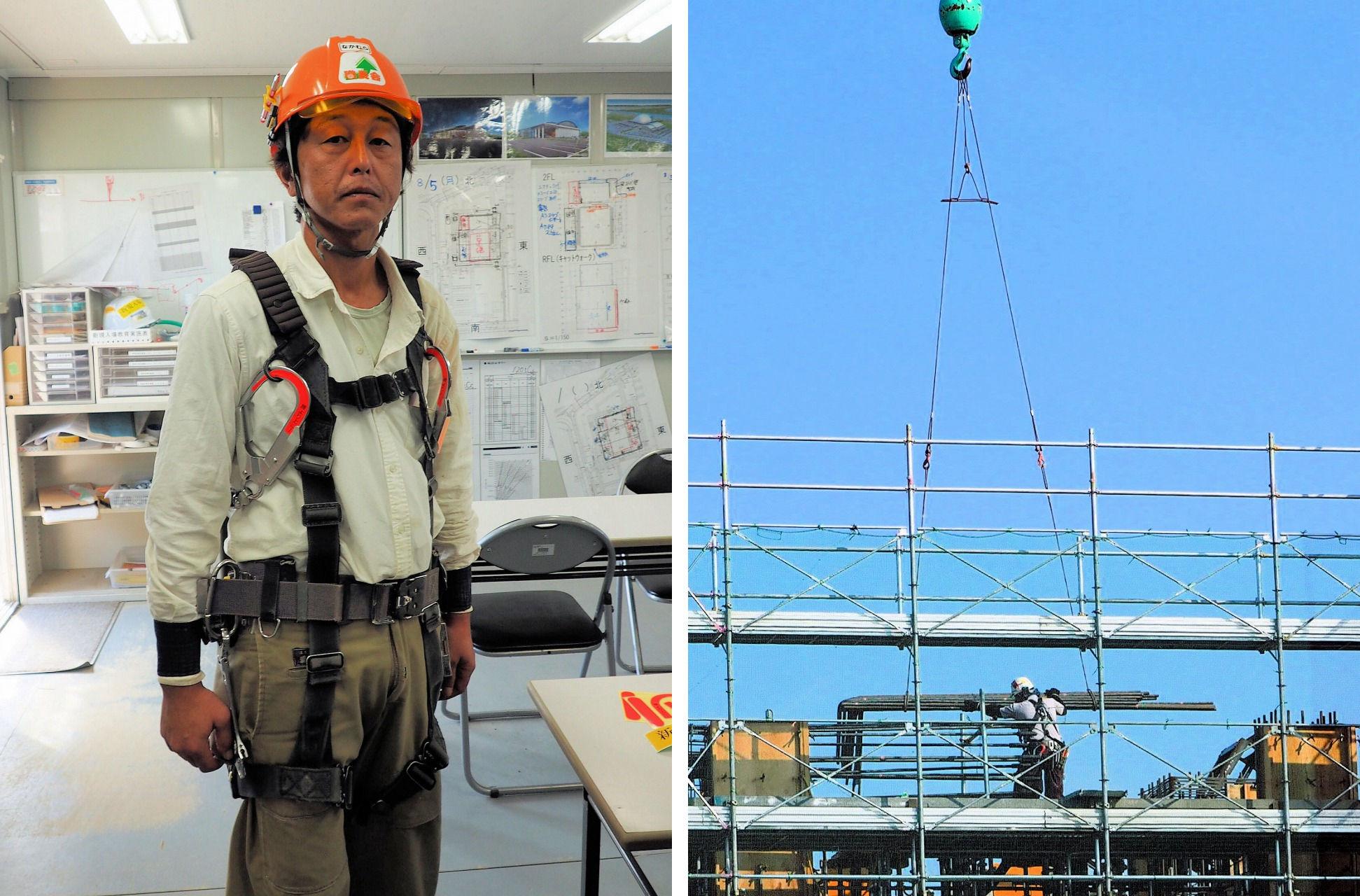 フルハーネス型安全帯(左)についての特別教育と、クレーン作業(右)に必要となる玉掛け作業の再教育についての受講情報も、入退場管理システムで一元管理している