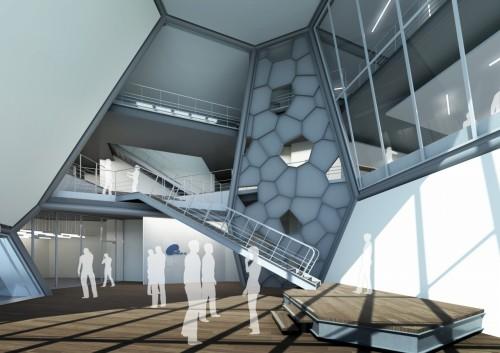 斜めの壁で構成された三栄建設新事務所ビルのゲストエントランス