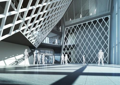 従業員エントランス 内観CGパース。ボロノイ面が透過性のあるスクリーンで構成され、部署間の見通しもよい配置になっている