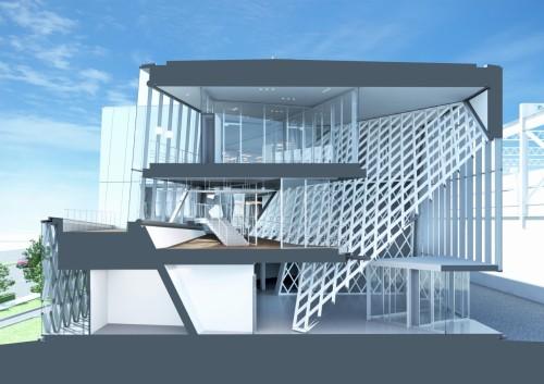 ARCHICADで作成したBIMモデルを建物の長手方向(上)、横断方向(下)に切断した断面パース
