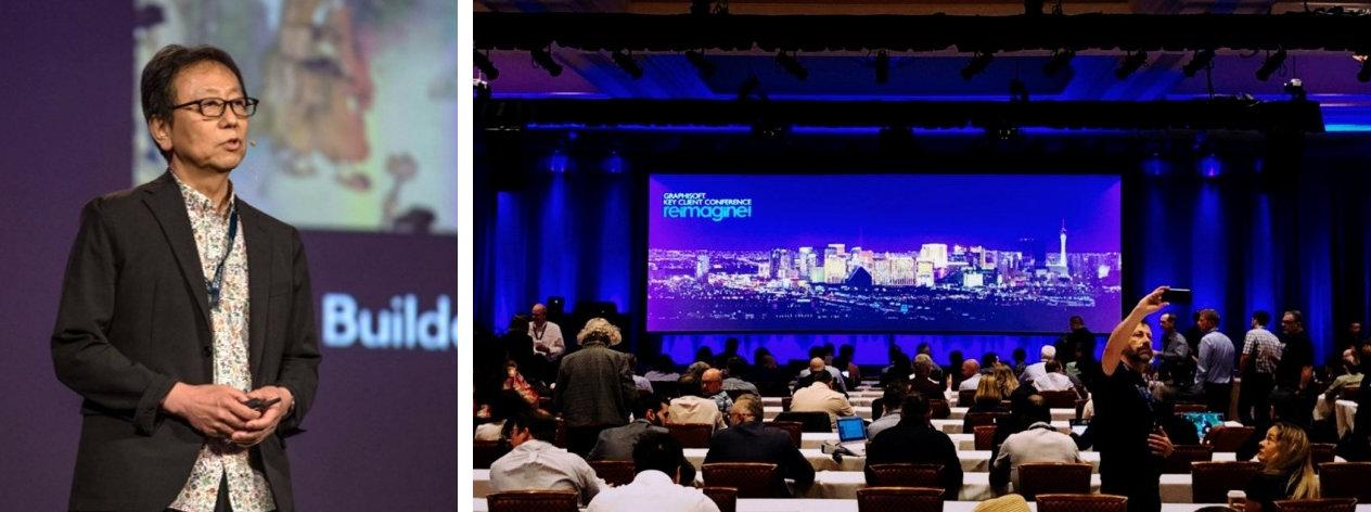 2019年6月3日~5日、米国ラスベガスで開催された「Key Client Conference 2019」で講演する竹中工務店執行役員の清水弘之氏(左)と、世界中からARCHICADの主要ユーザーが集まった会場風景(右)