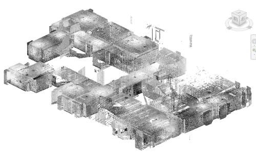 FARO Focus3Dで既存建物を計測した点群データ。約1000m2を1日で計測