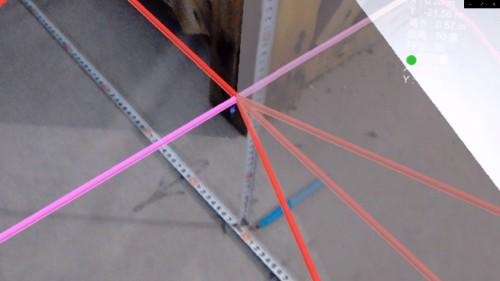 2点間での位置合わせのわずかな誤差が影響して3点目の位置の誤差が生じたことが判明した。つまり位置合わせを更に追究すれば1㎝以下の精度となる。LN-100との連携でHoloLensの精度はここまで高まった