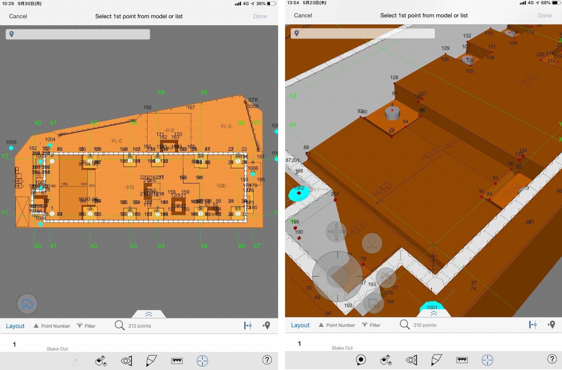 平面図だけだと測点の高さ位置がわかりにくい(左)。BIMモデル上に測点が3D表示されると測点がどこに配置されているかが見やすい(右)