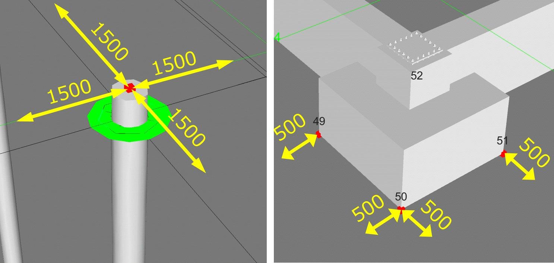 杭芯座標やフーチング4隅座標から掘削範囲を計測する活用のイメージ