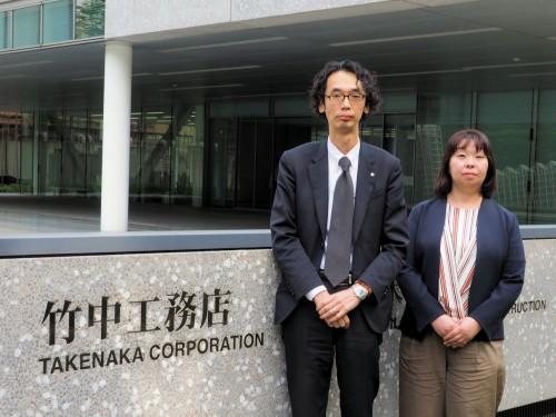 社外とのファイル共有にBoxのクラウドサービスを活用する竹中工務店 グループICT推進室の金澤英紀副部長(左)と井上須美子主任(右)