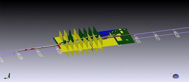 ボーリング結果を3D空間にまとめたモデル