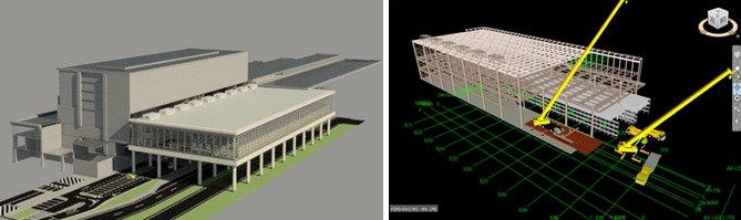 新千歳空港国際線ターミナルビルのBIMモデル(左)。鉄骨建て方作業の手順検討(右)にもBIMを活用した
