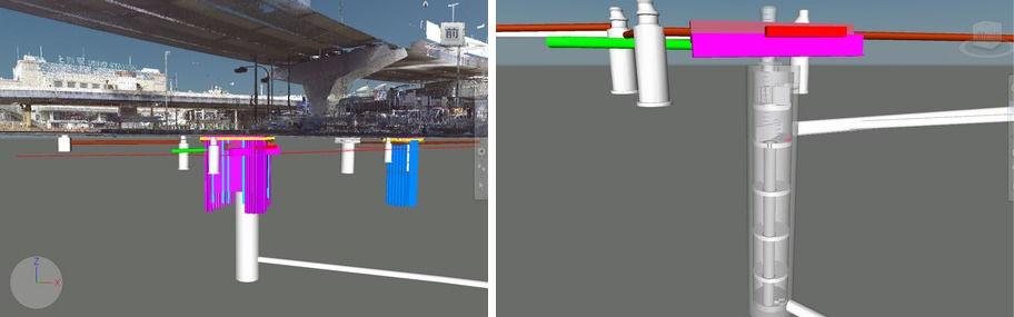 東京・上野駅前の下水道シールドトンネル工事にCIMを活用し地下構造物を見える化した例(右)。大型マンホールの詳細CIM (Civil 3D) モデル(右)