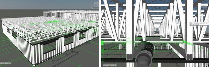 トラス構造の「スーパーフレーム」を採用した屋根(左)。その中を通る設備機器との干渉防止のためRevitが活躍した(右)