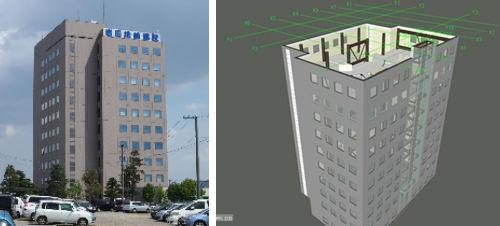 岩田地崎建設の本社ビル(左)とRevitで作成したBIMモデル(右)