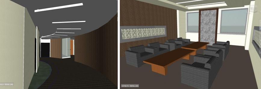 9階役員フロアの廊下(左)や応接室(右)などの内装デザインや家具の検討にRevitを活用し、設計イメージを可視化した