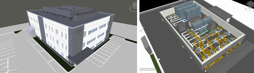 エア・ウォーター月寒の研究所ビルのBIM (Navisworks) モデル(左)は、複雑に入り組んだ屋上設備の配置検討(右)にも活用した
