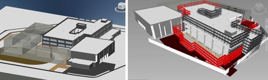 東白石小学校の改築工事(左)。工程によって変化する仮設計画(右)をBIMで行った