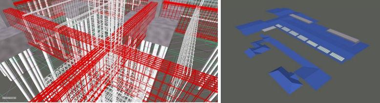 「しこつ湖 鶴雅別荘 碧の座」の基礎鉄筋の施工検討(左)と屋根形状の確認(右)