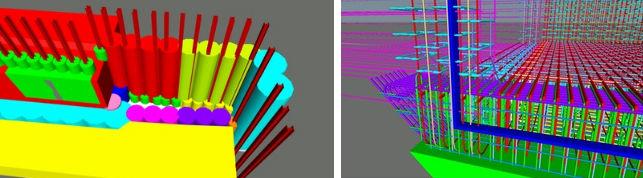 地盤改良施工位置の検討(左)と、止水板と鉄筋の干渉チェック(右)