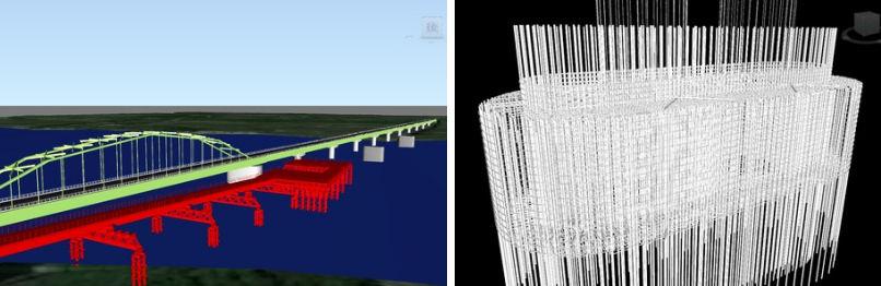新石狩大橋の橋脚工事で使う仮設橋のCIM (Civil 3D) モデル(左)。圧気工法で施工するケーソンの鉄筋構造(右)