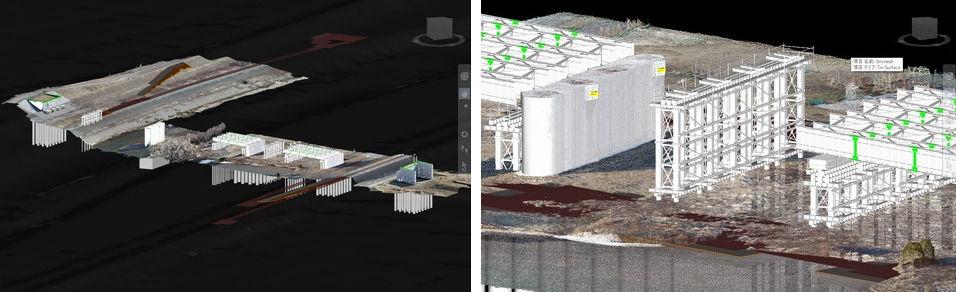 北24条大橋のCIM (Civil 3D) モデル(左)と仮設ベントの検討(右)
