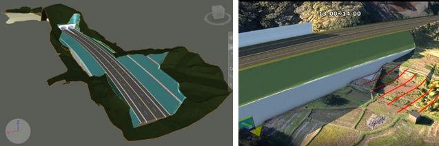 CIMによる土工計画(左)。道路による周囲の畑に対する日影検討(右)