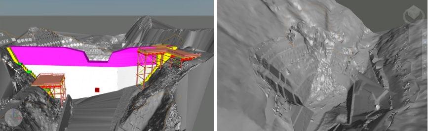 現況地盤の形状に合わせて計画した仮設構台のCIM (Civil 3D) モデル(左)。土砂崩れ発生時の土量もCIMで迅速に計量し、変更計画を作成した