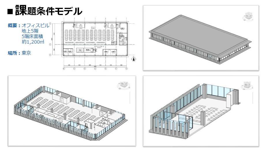 課題としたオフィスの5階フロアのBIMモデル