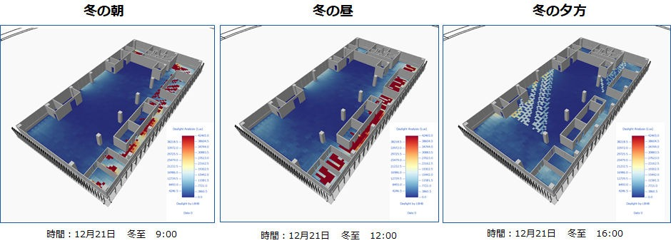 Radianceで冬の室内照度を解析した例