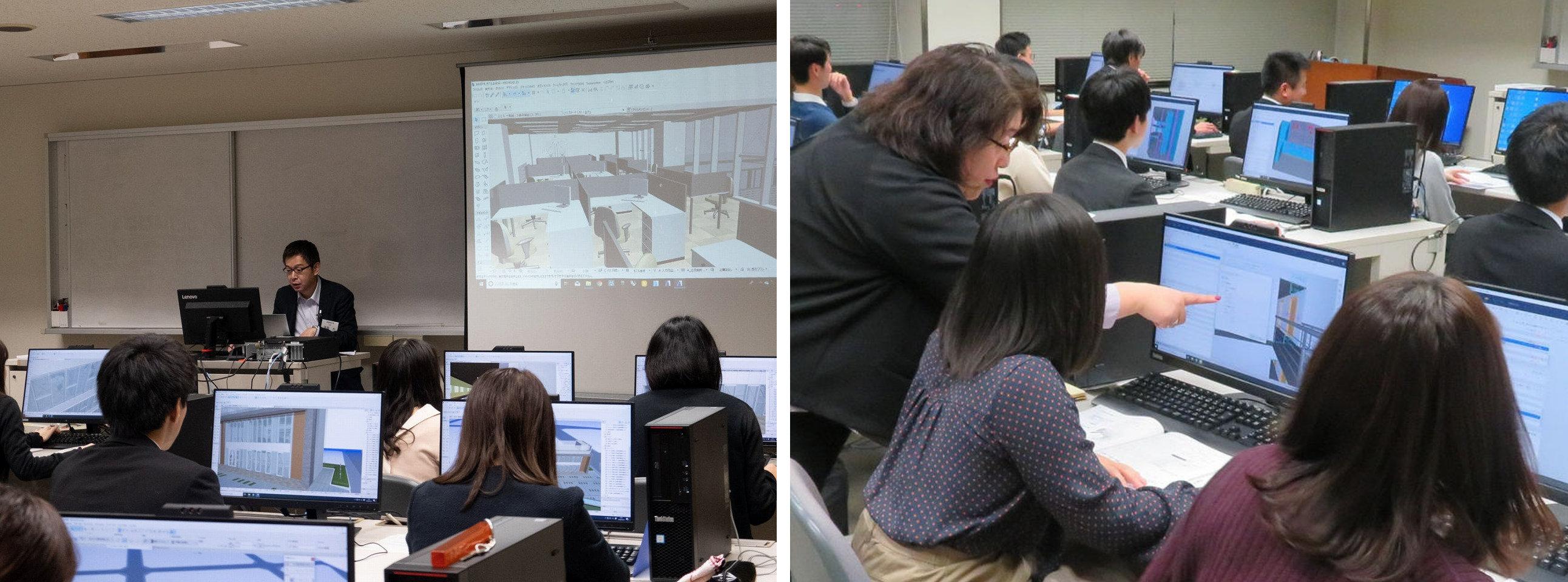 ARCHICADで建物のBIMモデルやプレゼン資料の作成も職員自らが行った