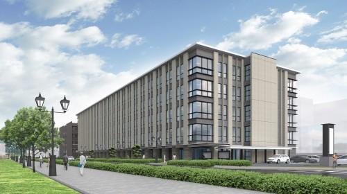 鹿児島第3地方合同庁舎の完成予想図。建物高さ20mを守りながら5階建てを実現した(資料:国土交通省九州地方整備局)