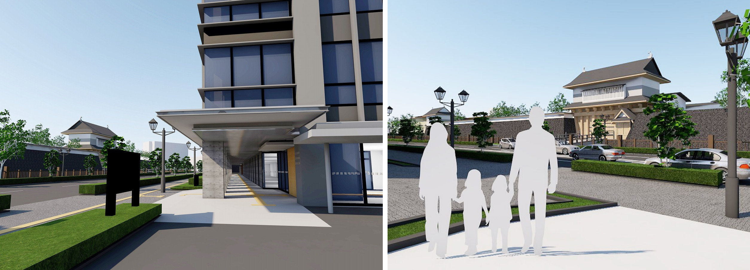 鹿児島第3地方合同庁舎(左)やポケットパーク(右)からの御楼門の見え方もBIMによる景観シミュレーションで検討した(右)(資料:国土交通省九州地方整備局)