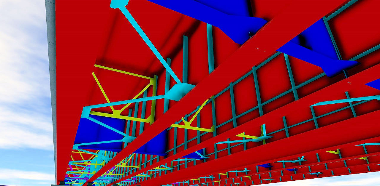 BIM/CIM推進課の池田真彦氏が独学で作成した橋梁上部工CIMモデル。各部材の板厚も道路橋示方書に準拠している