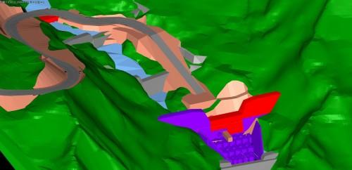施工ステップを踏まえた砂防堰堤のCIMモデル。2Dの断面図だけでは発見しにくかった地形と構造物の納まりの問題などにも気づくことができた