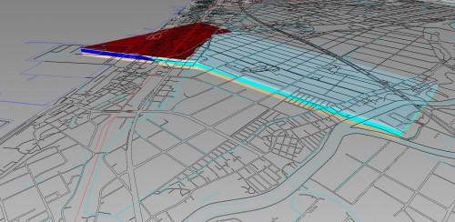 放水路の周辺地盤を3Dモデル化した例
