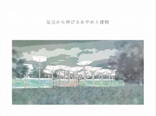 キャンパス跡地をあやめをモチーフとした公園に整備したイメージ