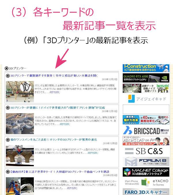 例えば「3Dプリンター」をクリックすると、下記のように最新記事一覧が表示される